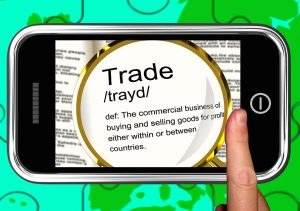 Trade Definition On Smartphone Showing Exportation